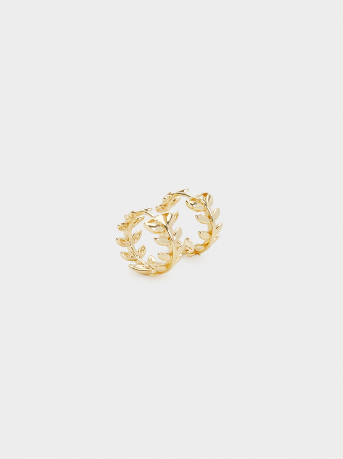 Small Hoop Earrings With Leaf Design, Golden, hi-res