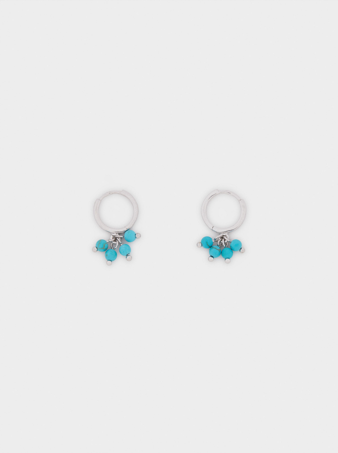 Small 925 Sterling Silver Hoops With Stones, Blue, hi-res
