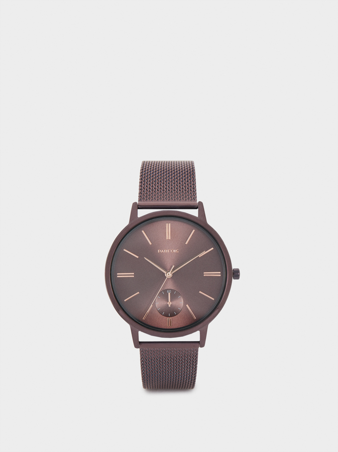 Watch With Metallic Mesh Strap, Bordeaux, hi-res