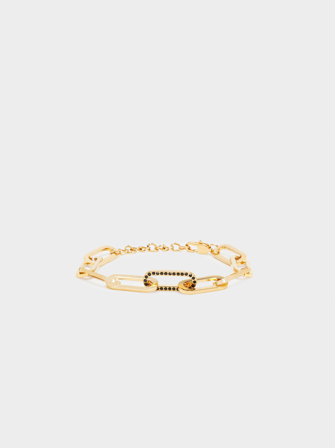 Bracelet Maillons En Acier, Doré, hi-res