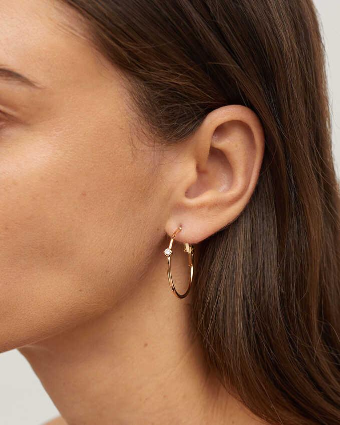 Hoop Earrings With Zirconia, Golden, hi-res