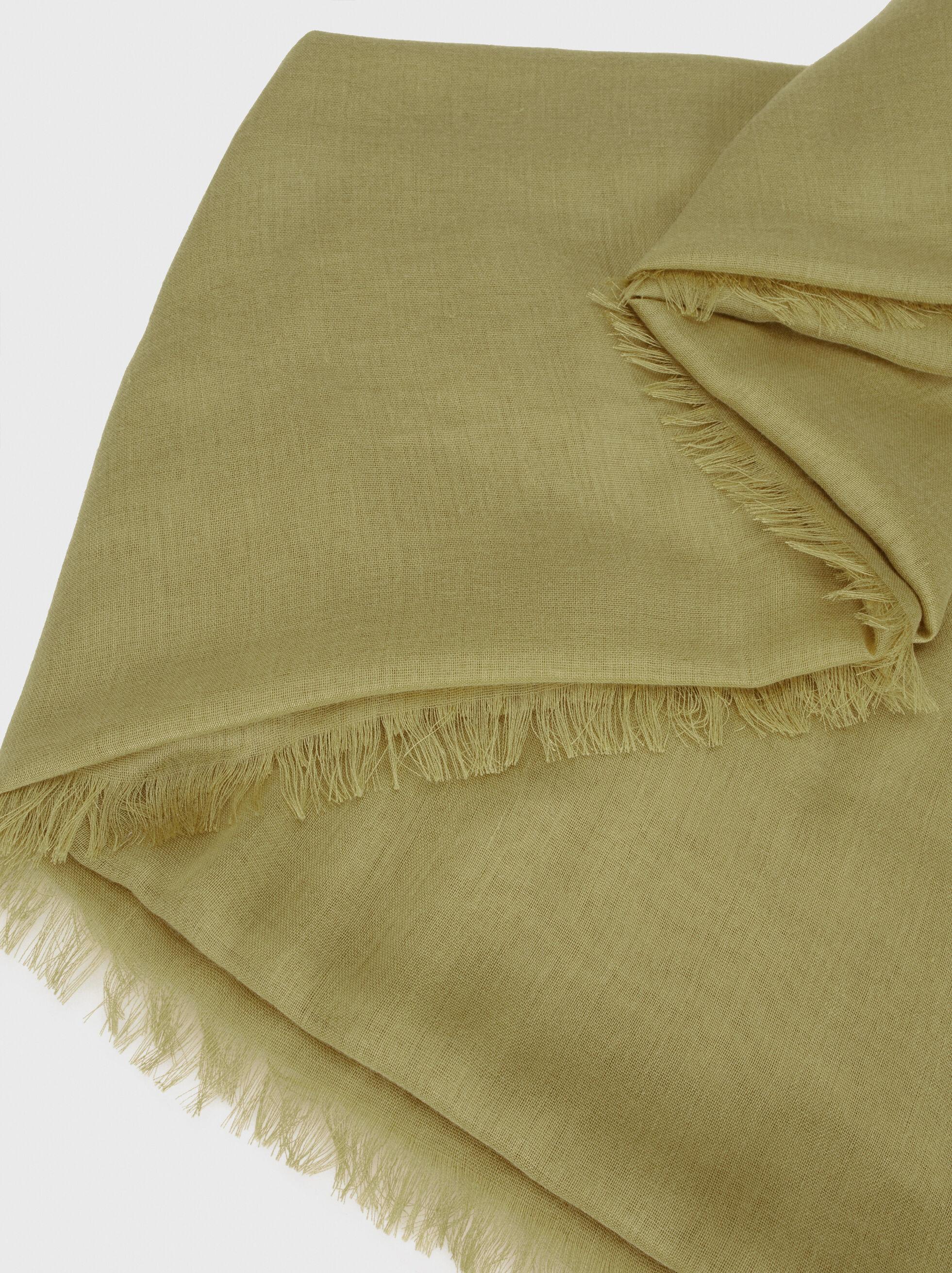 Plain Pashmina With Frayed Detailing, Khaki, hi-res