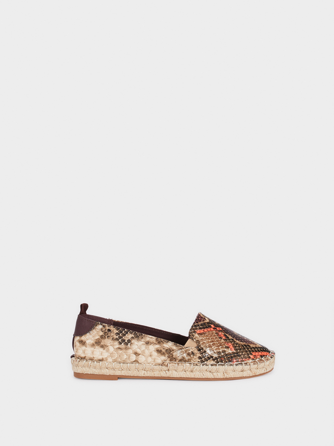 Animal Print Espadrilles, Orange, hi-res