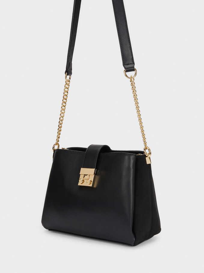 Faux Suede Crossbody Bag With Contrast Strap, Black, hi-res