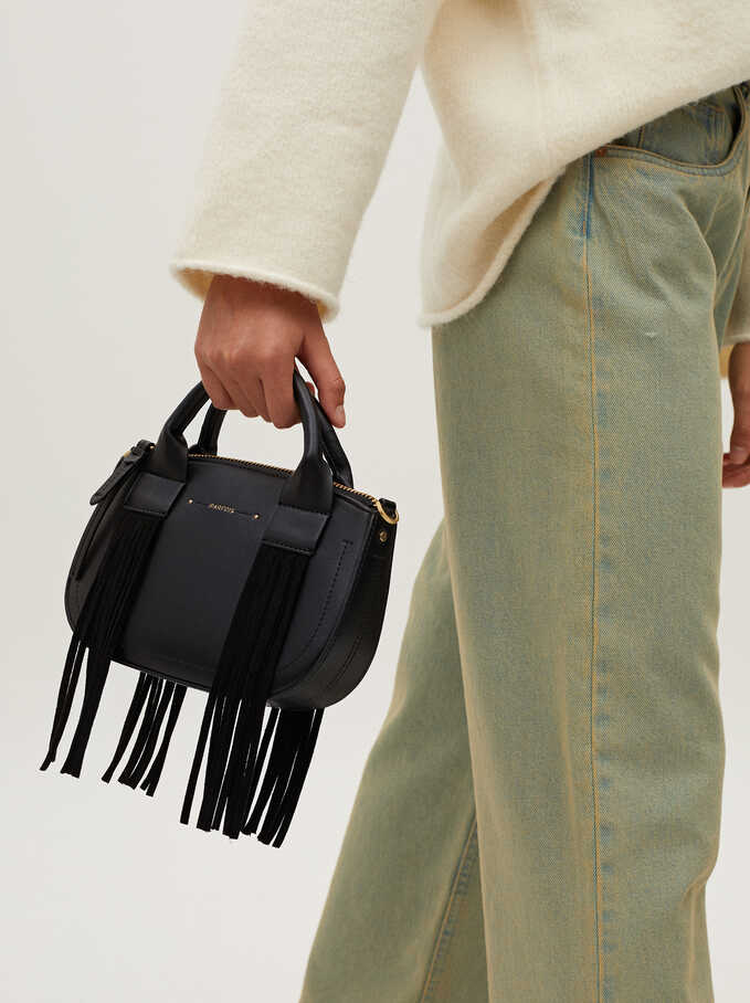 Crossbody Bag With Fringe Details, Black, hi-res