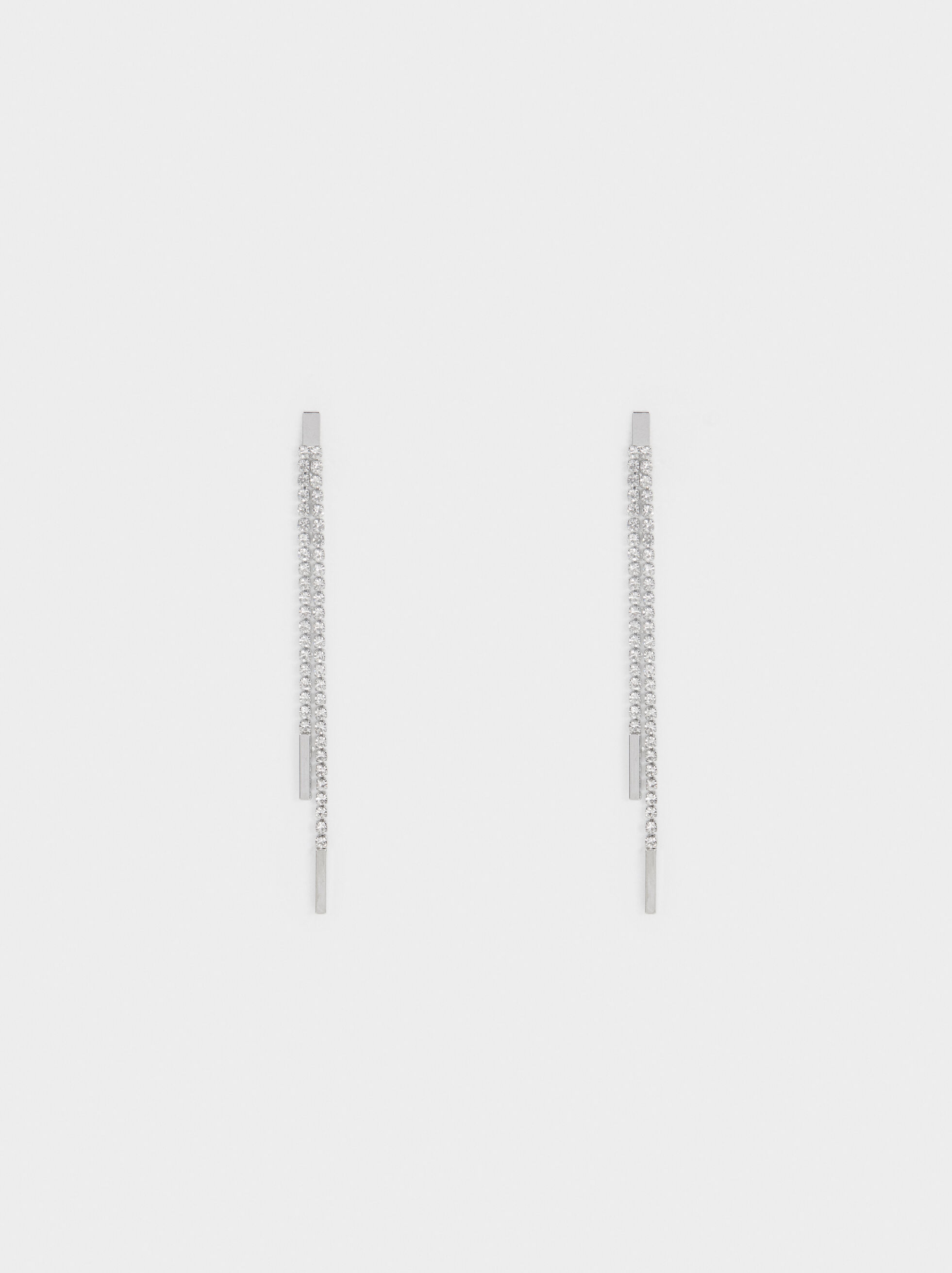 Long Rhinestone Earrings, Silver, hi-res