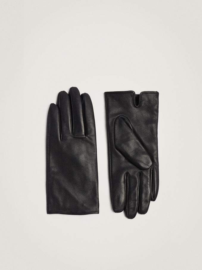 Leather Gloves, Black, hi-res