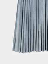 Pleated Velvet Skirt, Blue, hi-res