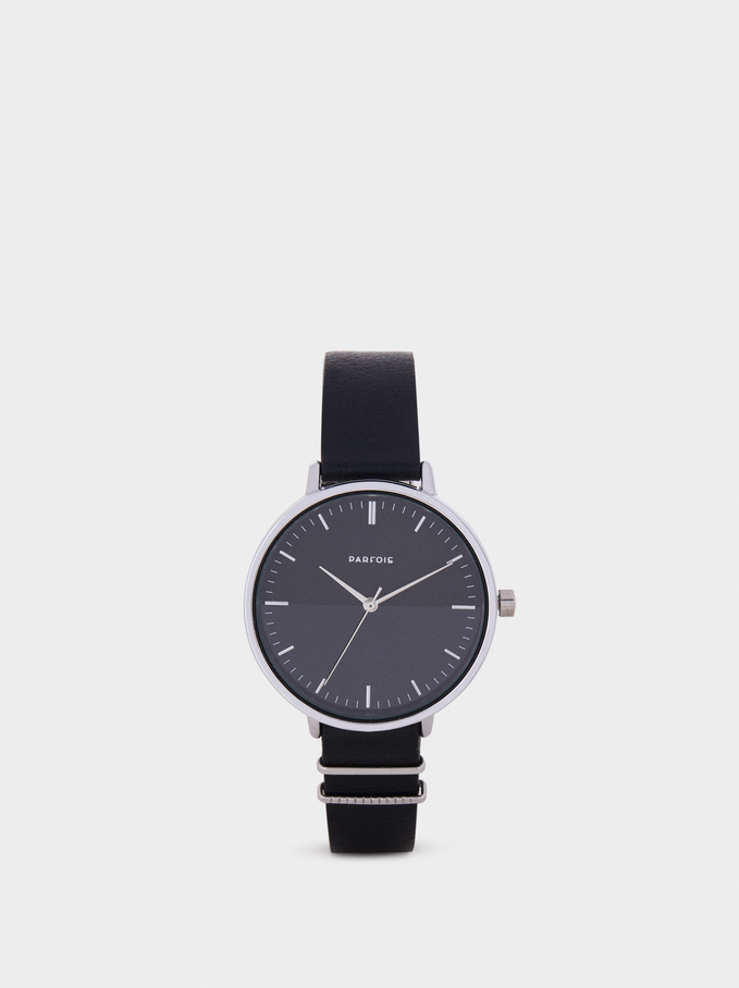 Watch With Metal Detail On The Strap, Black, hi-res