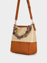 Raffia Effect Shoulder Bag, Beige, hi-res