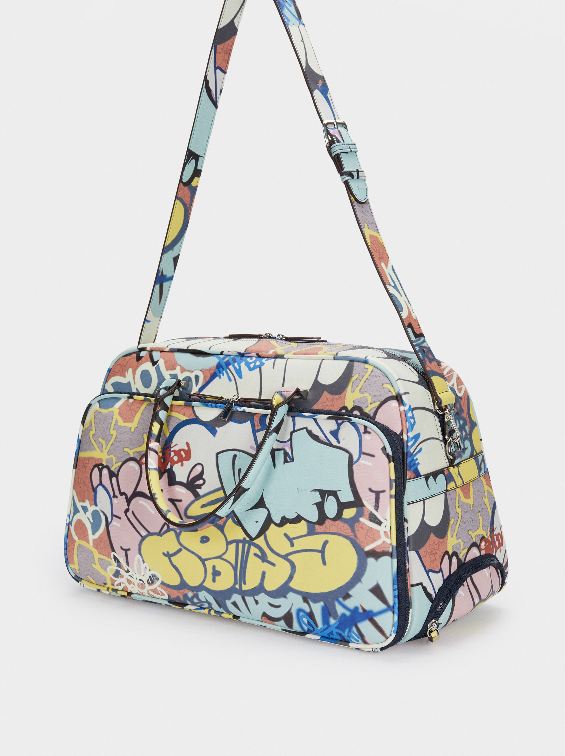 Weekend Handbag With Graffiti, Blue, hi-res