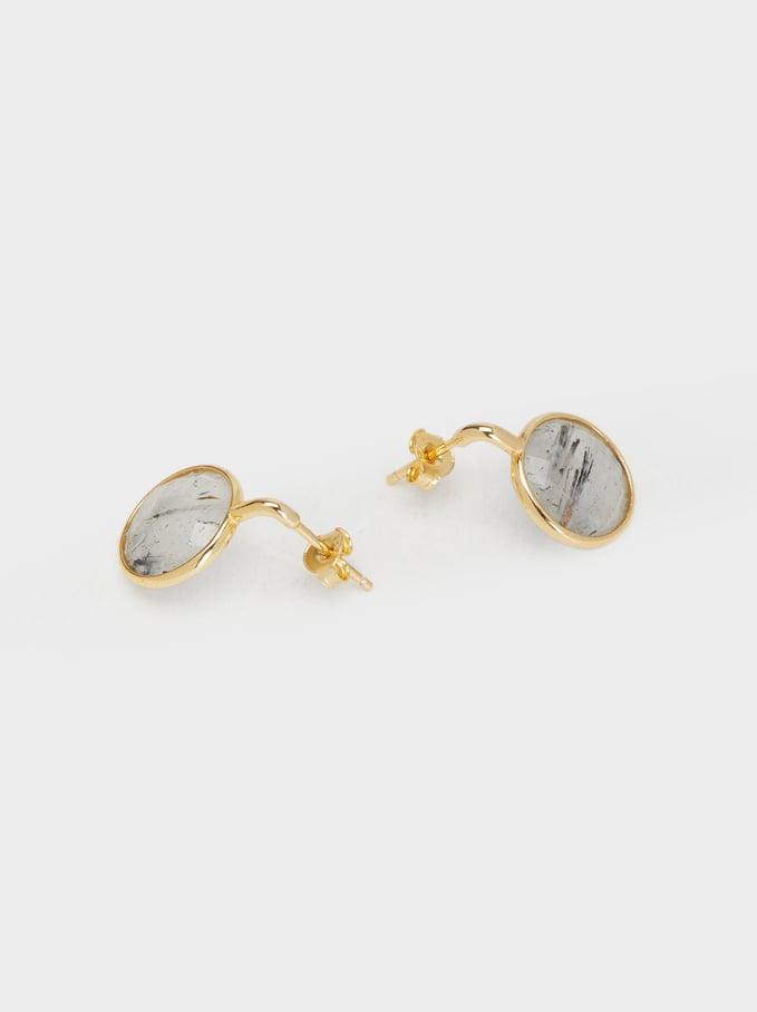 925 Silver Short Earrings, Grey, hi-res