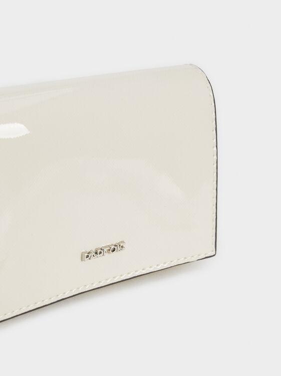Medium Patent Finish Wallet, Ecru, hi-res