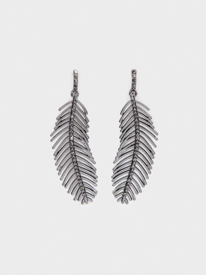 Medium Leaf Earrings With Crystals, Grey, hi-res