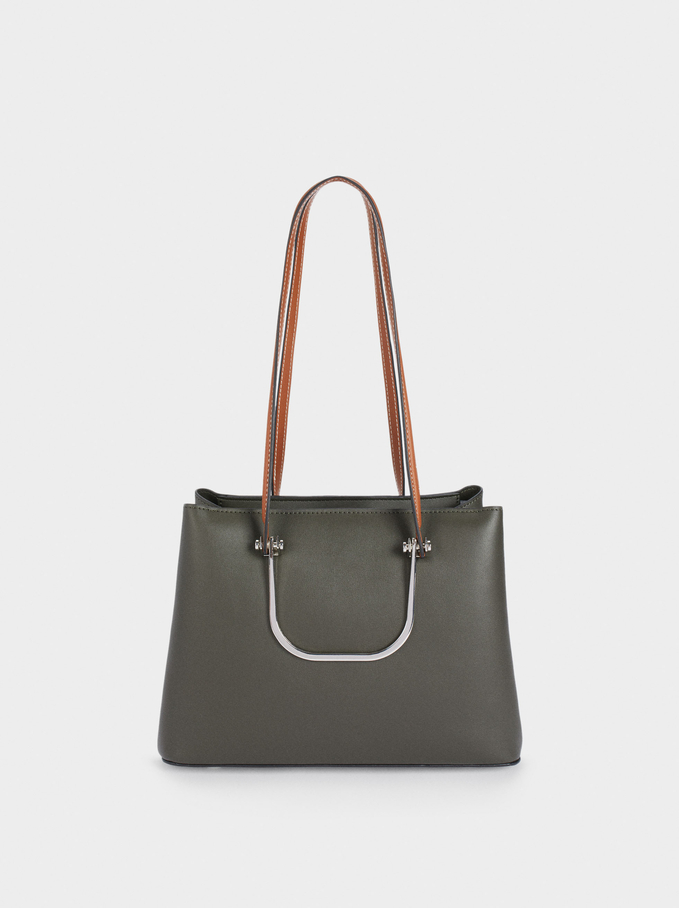 Shopper Bag With Multi-Way Handles, Khaki, hi-res