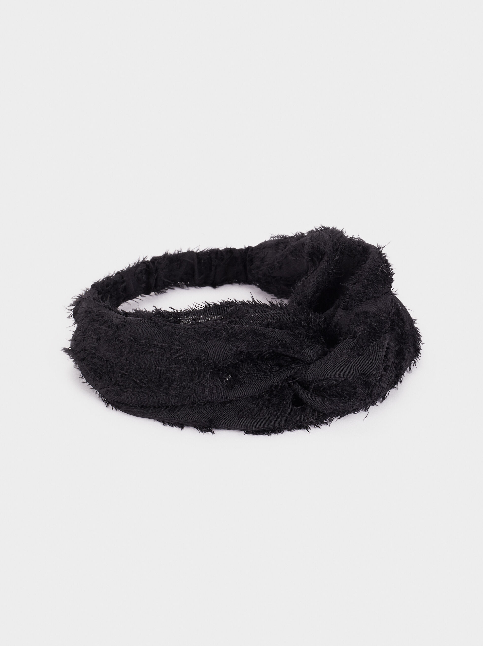 Furry Headband With Matching Details, Black, hi-res
