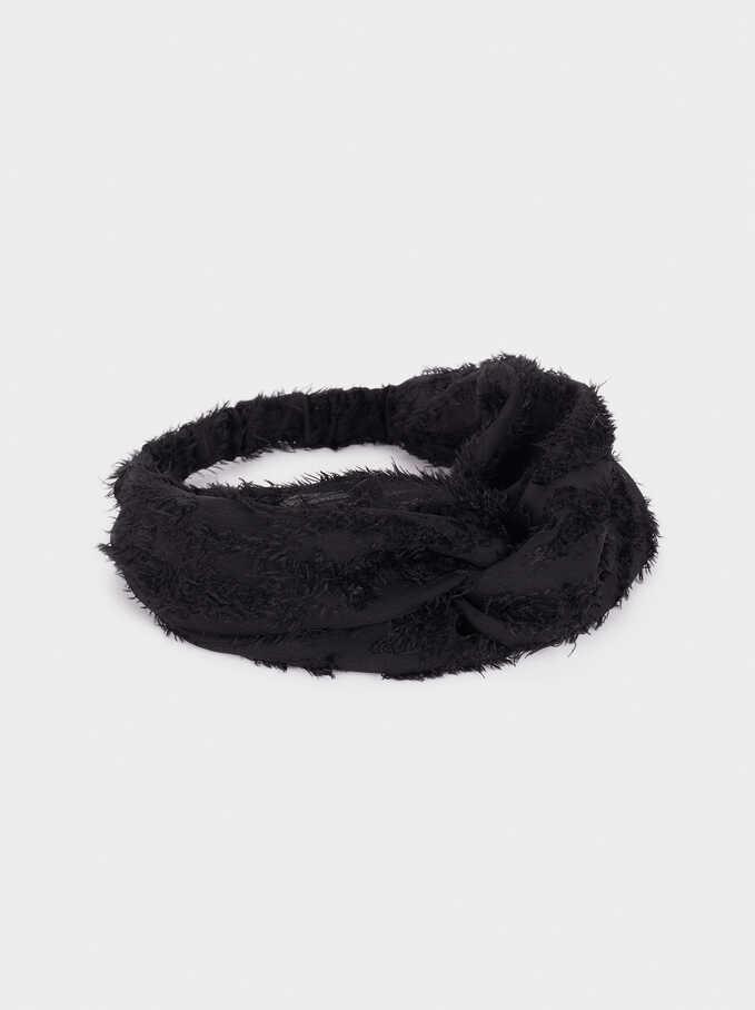 Frayed-Edge Turban-Style Headband, Black, hi-res