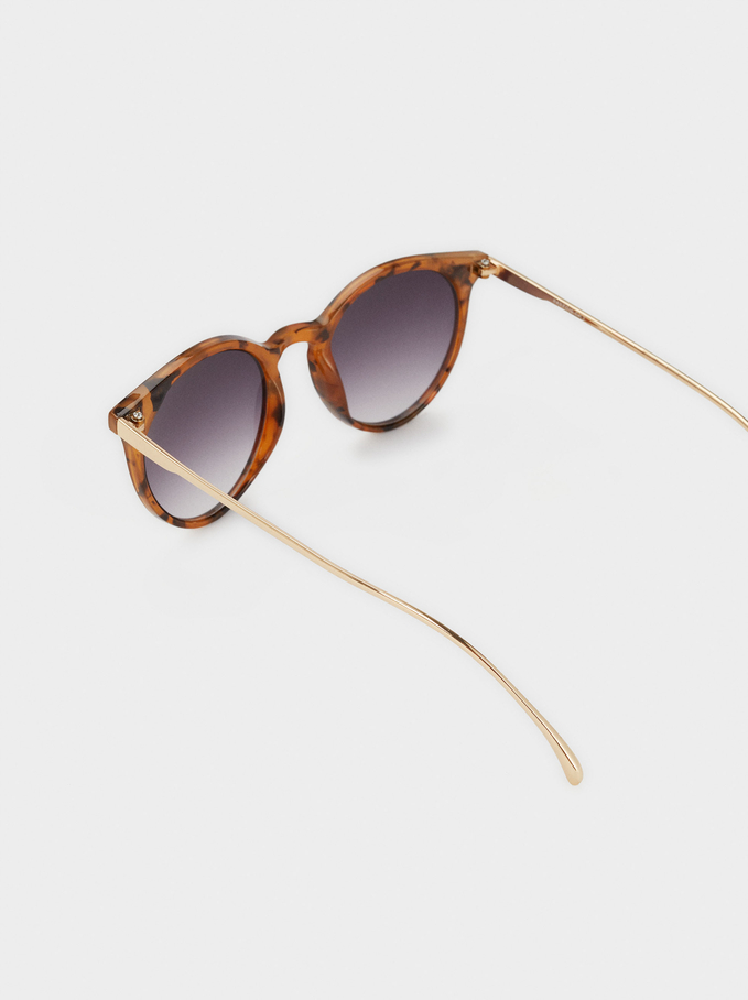 Round Tortoiseshell Sunglasses, Brown, hi-res