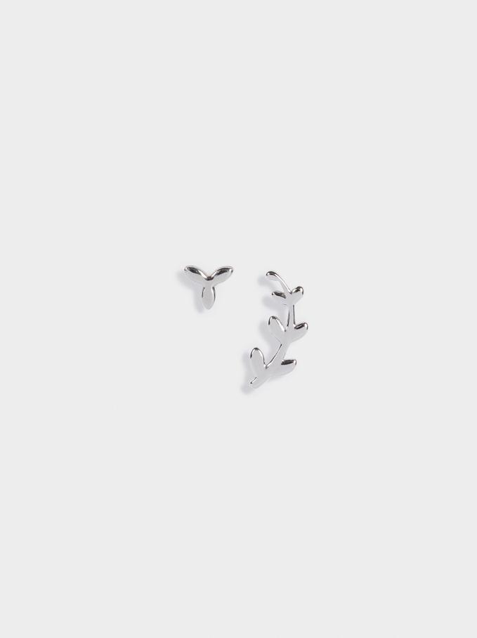 Short Steel Earrings, Silver, hi-res