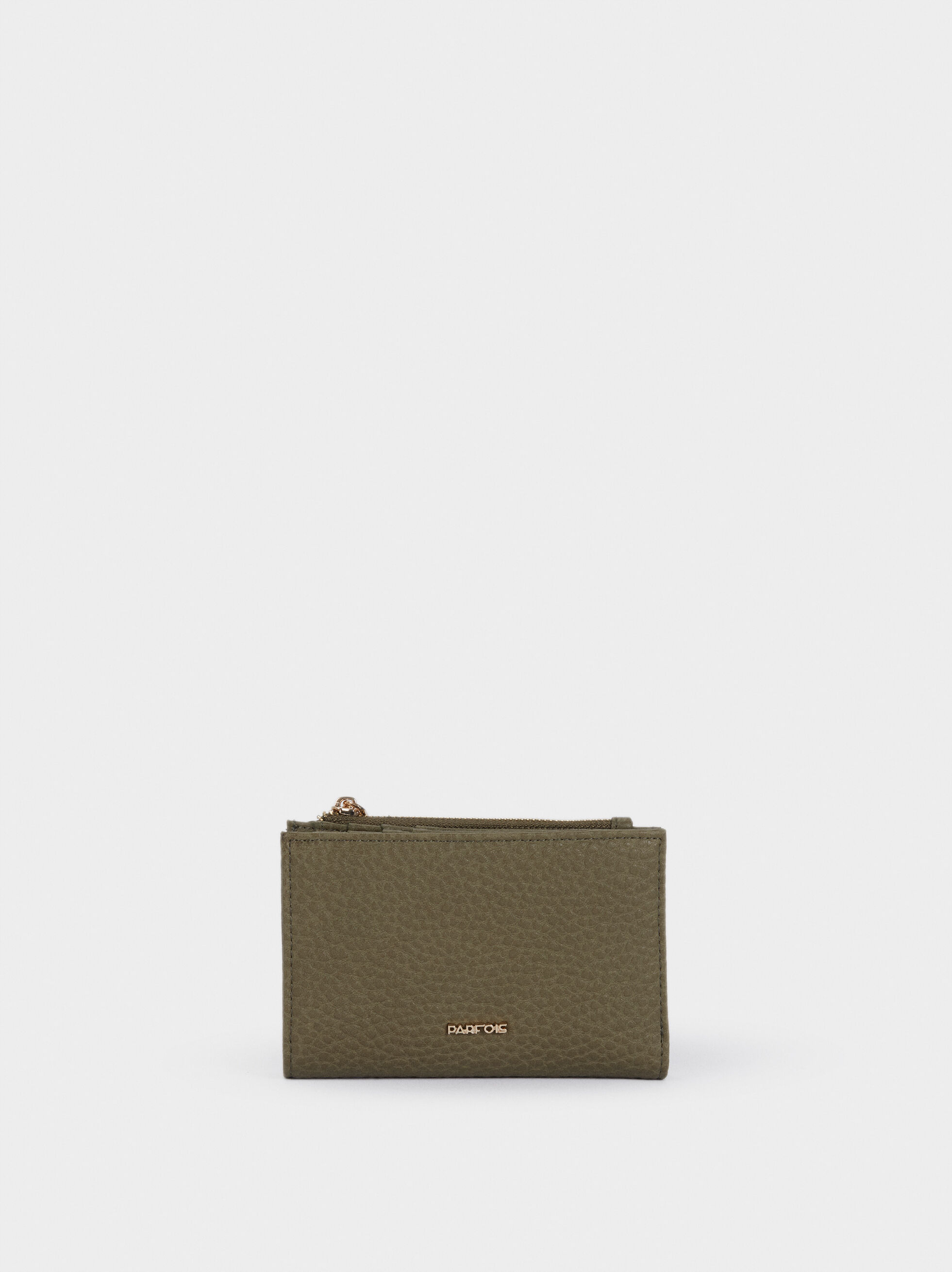 Embossed Wallet With Zip Fastening, Khaki, hi-res