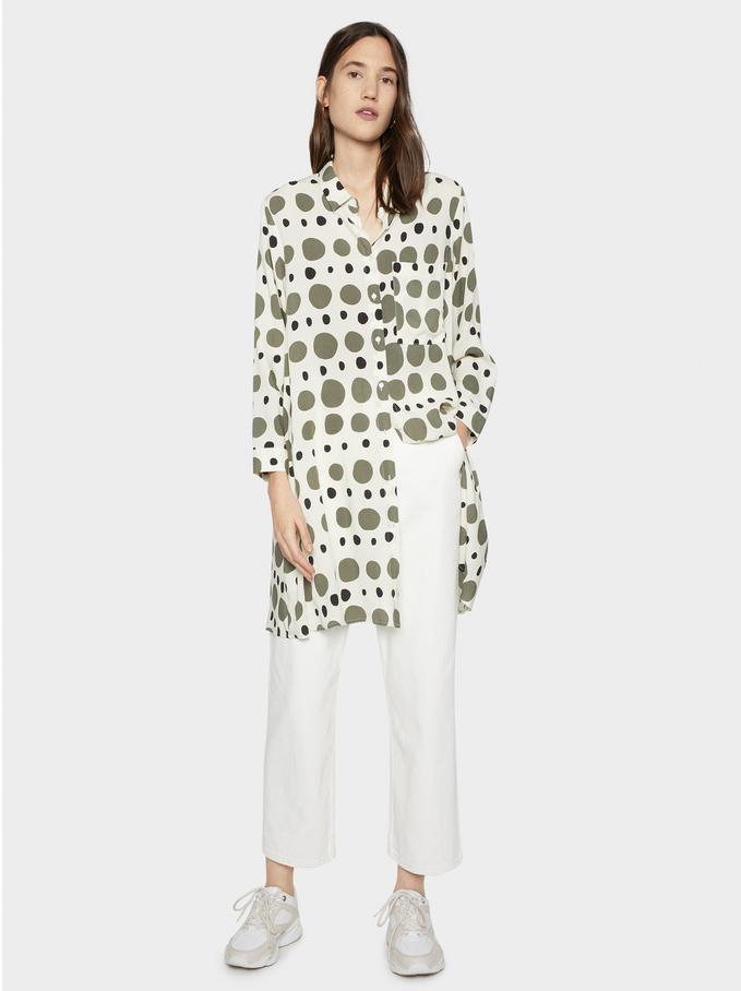 Polka Dot Print Shirt Dress, Ecru, hi-res