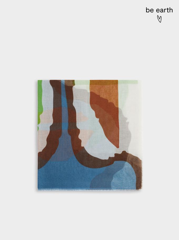 Pañuelo Estampado Fabricado Con Materiales Reciclados, Gris, hi-res