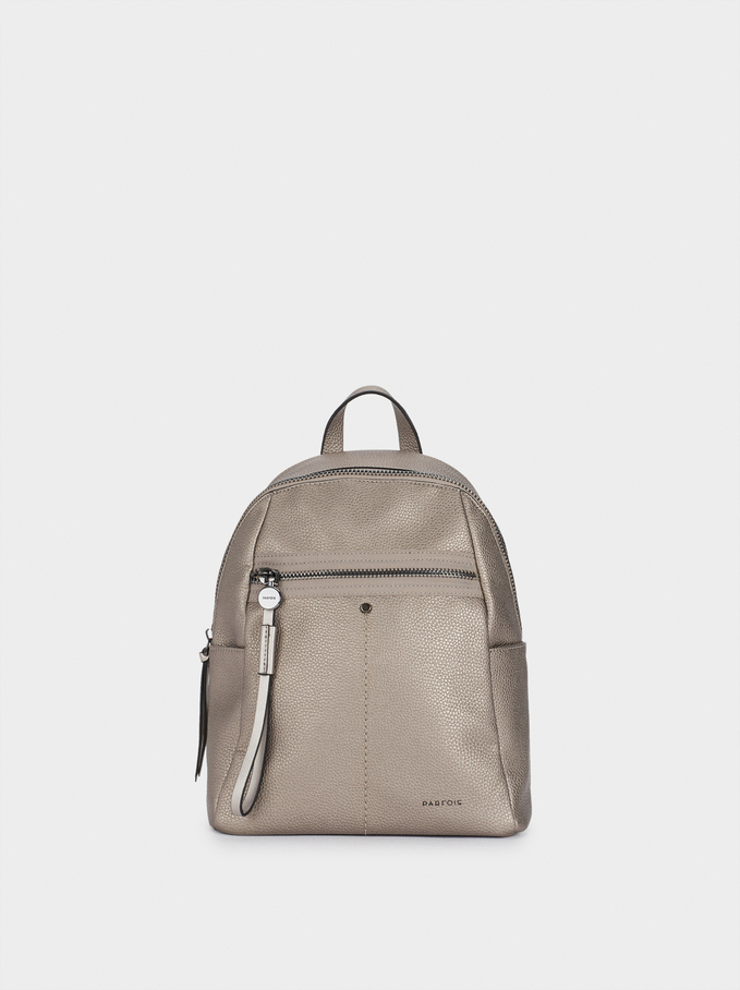 Backpack With Outside Pocket, Silver, hi-res