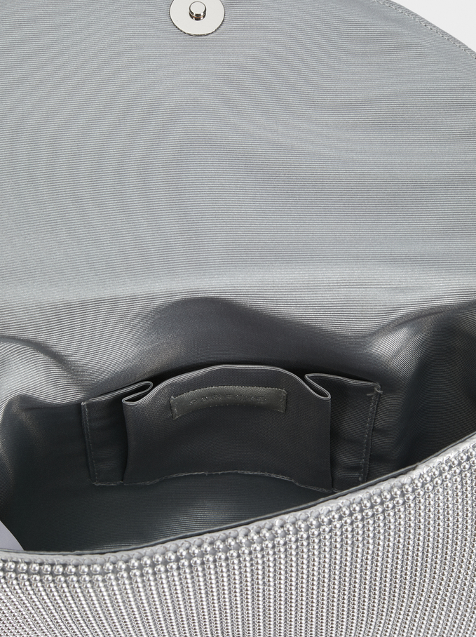 Mesh Fabric Evening Crossbody Bag, Silver, hi-res