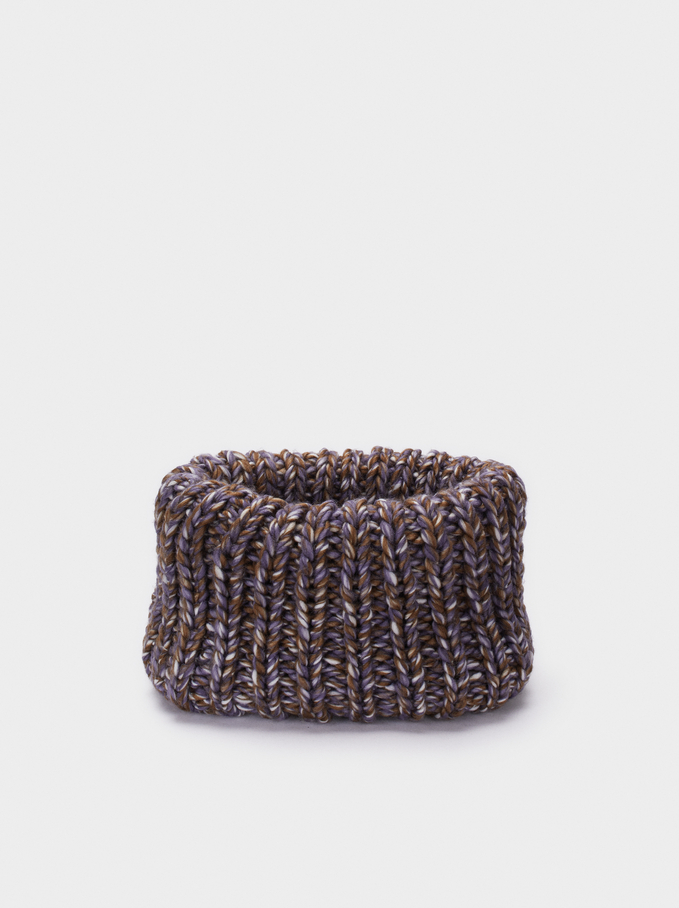 Knit Winter Collar, Khaki, hi-res