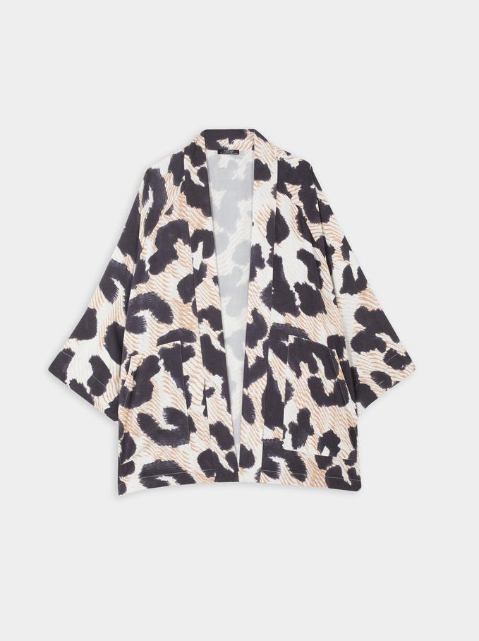 Animal Print Kimono, Blue, hi-res