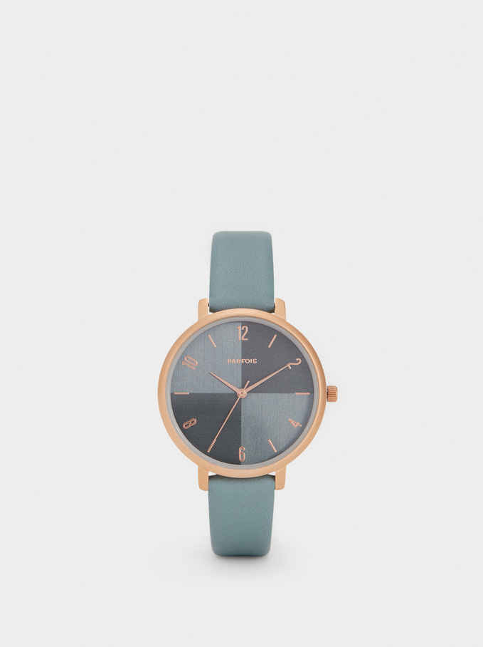 Watch With Textured Leather Wristband, Green, hi-res