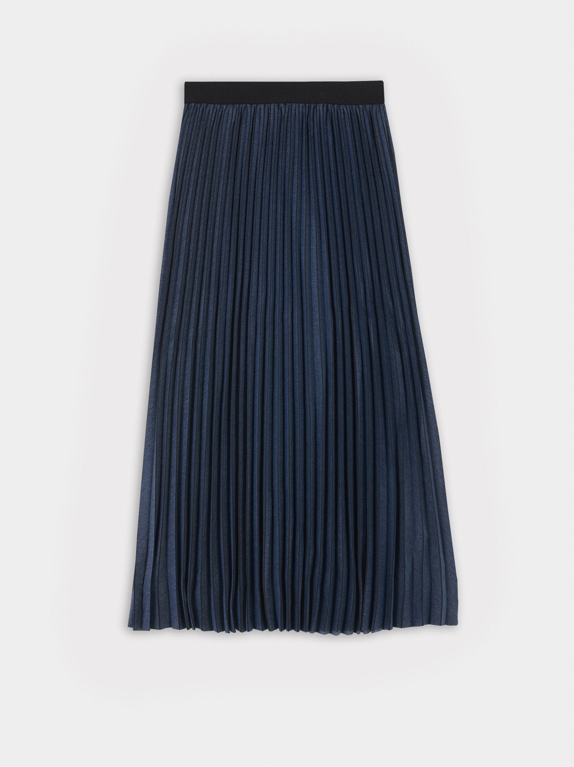 Pleated Skirt With Elasticated Waist, Blue, hi-res