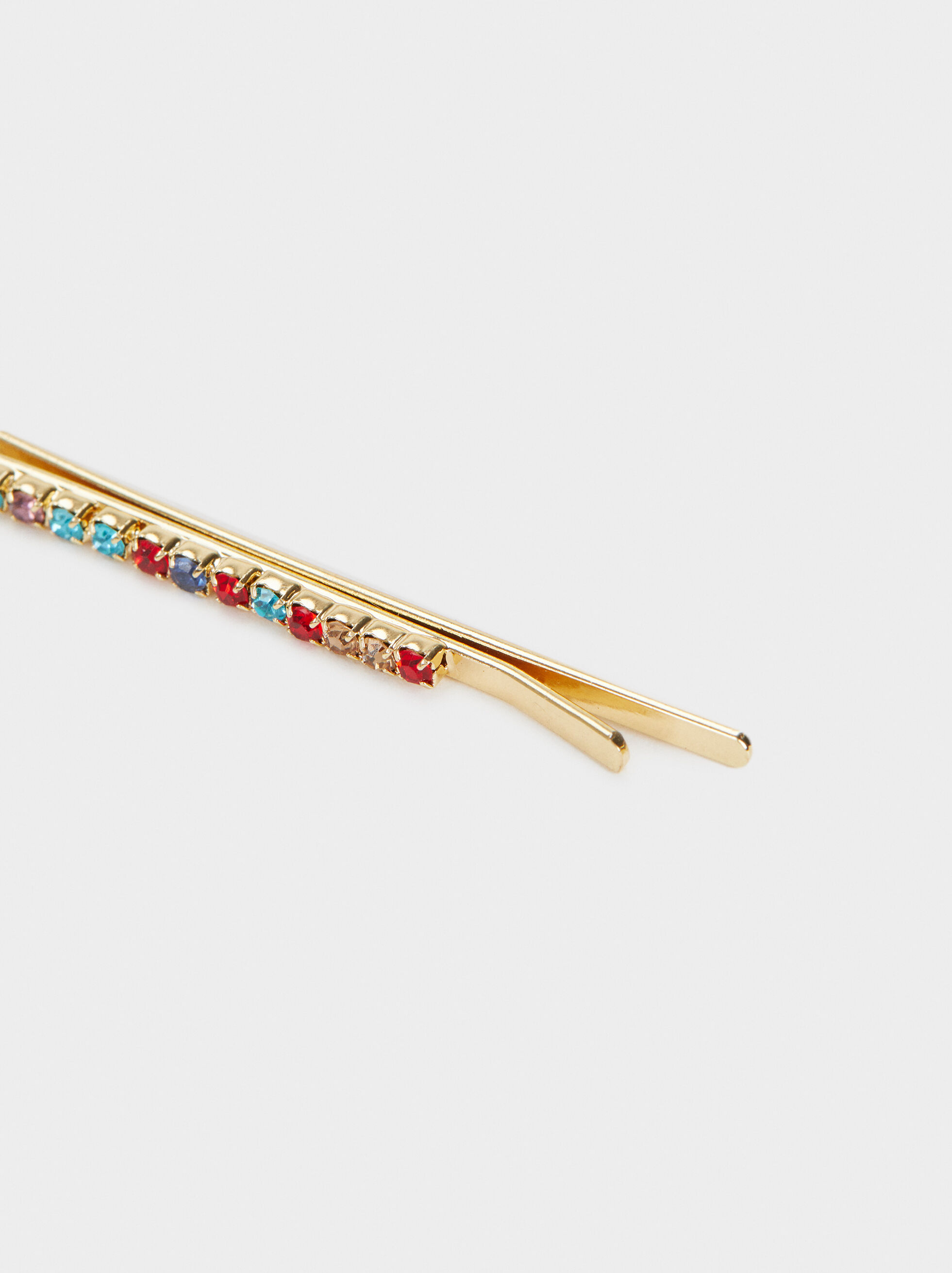Rhinestone Hairclip, Multicolor, hi-res