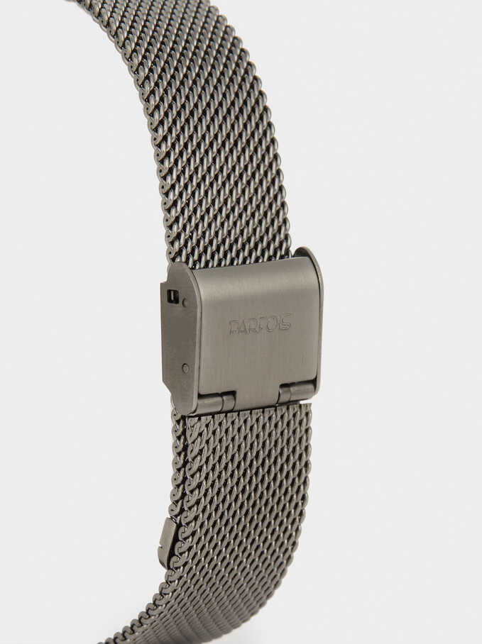 Watch With Metallic Mesh Strap, Black, hi-res
