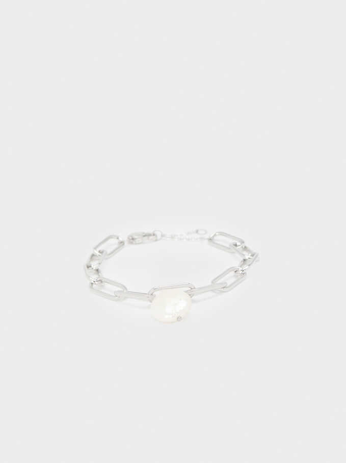 Silver-Toned Steel Bracelet With Pearl , Silver, hi-res
