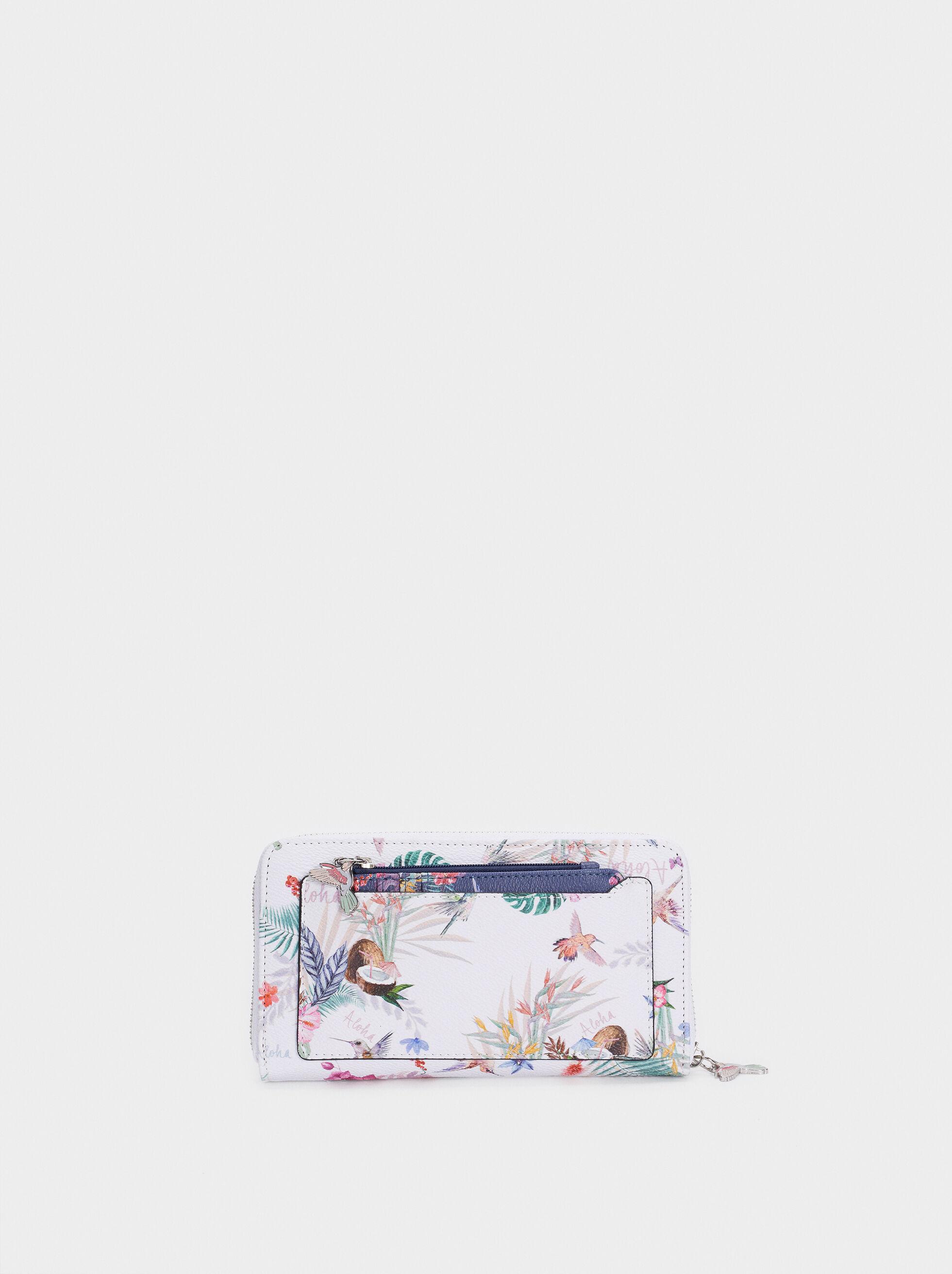 Cartera Con Bolsillo Exterior Estampado Floral, Crudo, hi-res