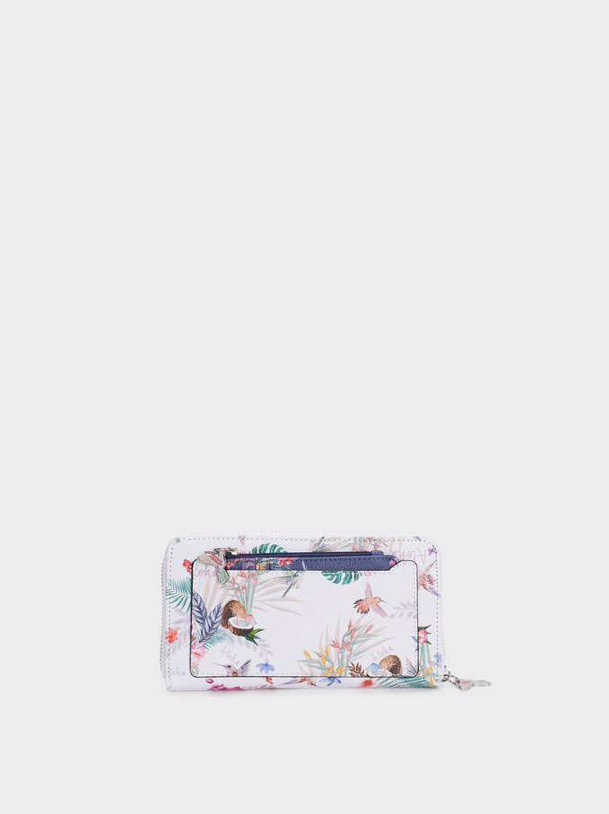 Floral Print Wallet With Exterior Pocket, Ecru, hi-res