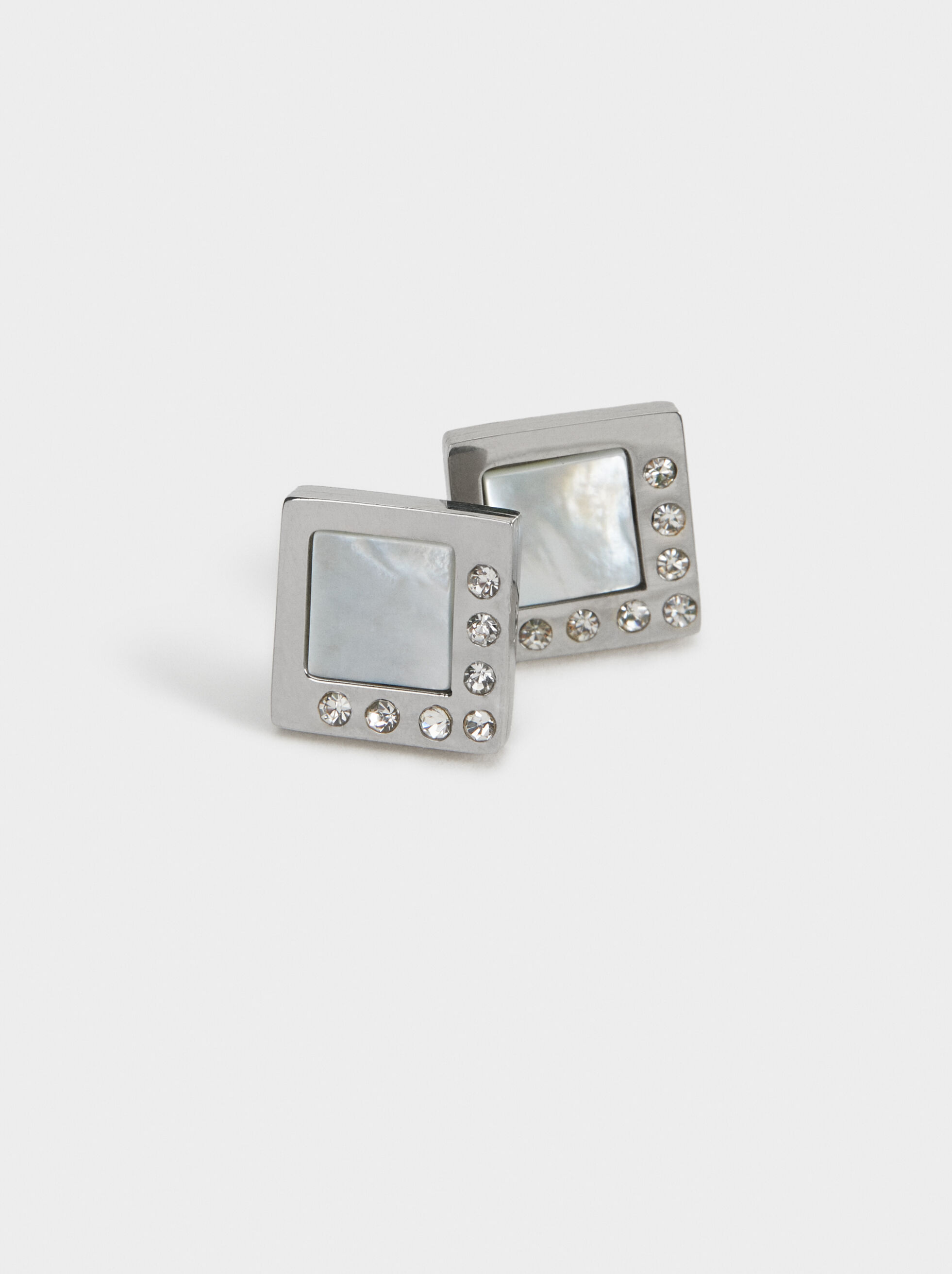 Square Steel Short Earrings, Silver, hi-res