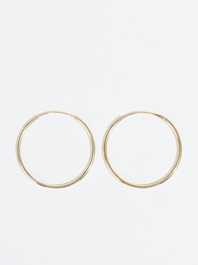 925 Sterling Silver & Gold Plated Short Hoop-Earri, Golden, hi-res