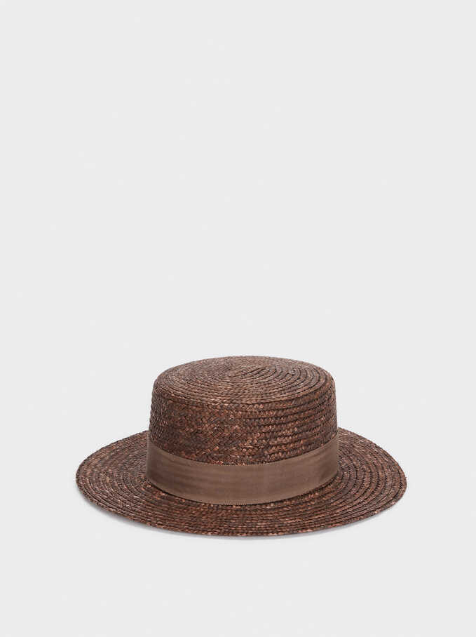 Straw Hat With Band, Brown, hi-res