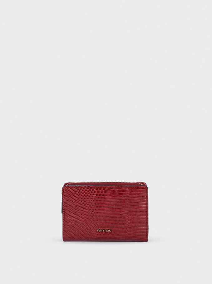 Embossed Animal Print Wallet, Red, hi-res