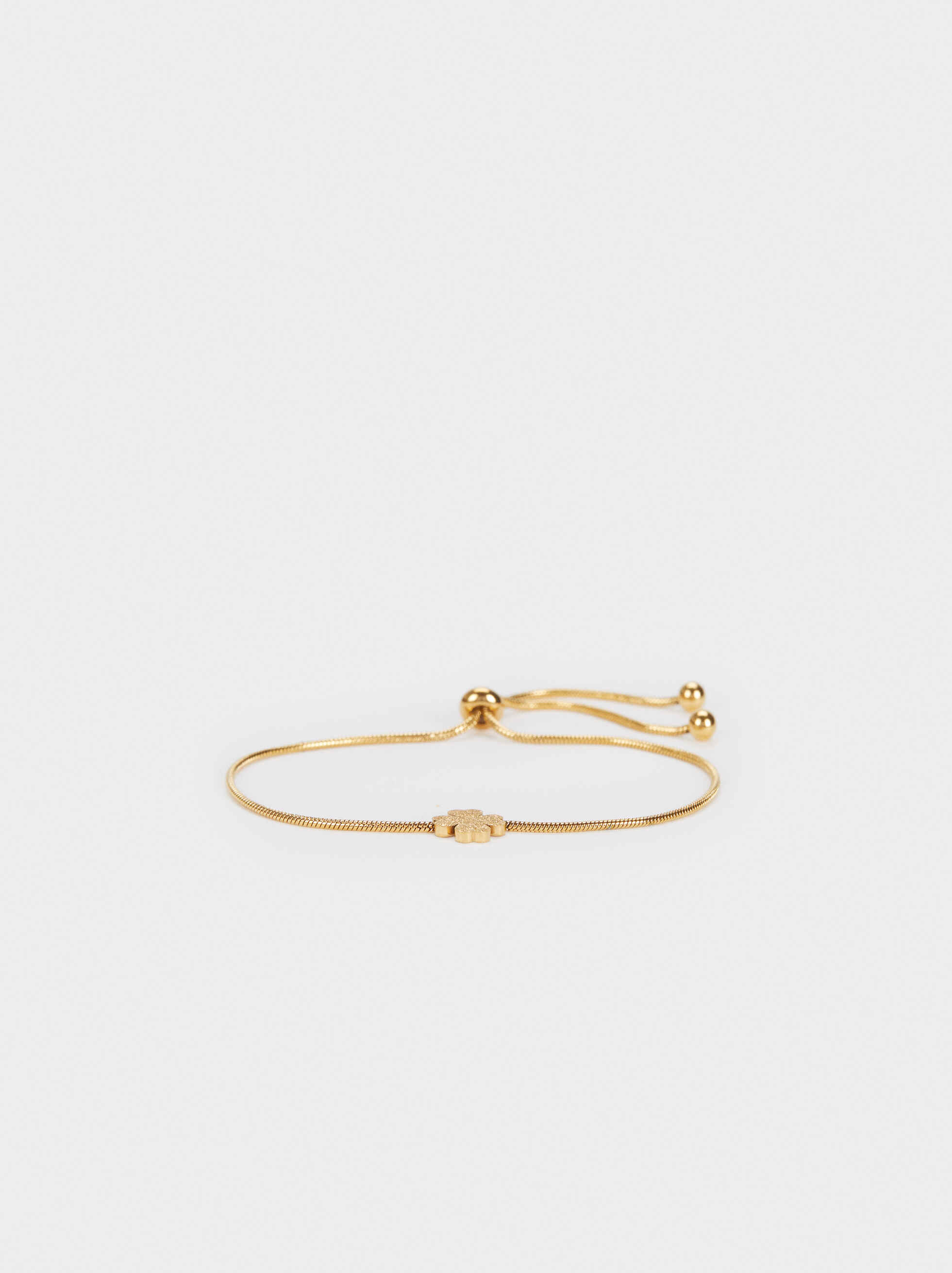 Stainless Steel Gold Adjustable Bracelet With Clover, , hi-res
