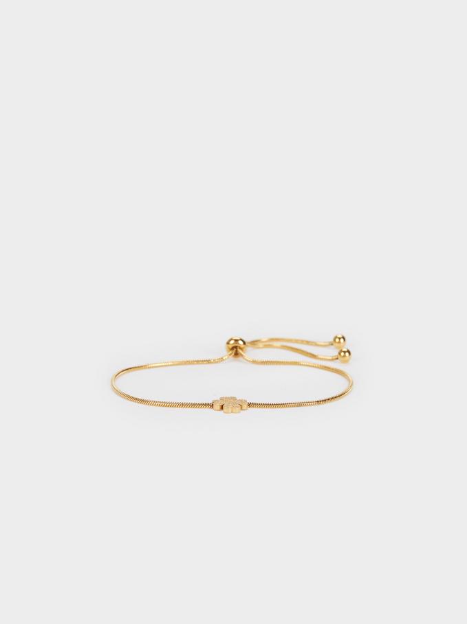 Steel Shamrock Bracelet, Golden, hi-res