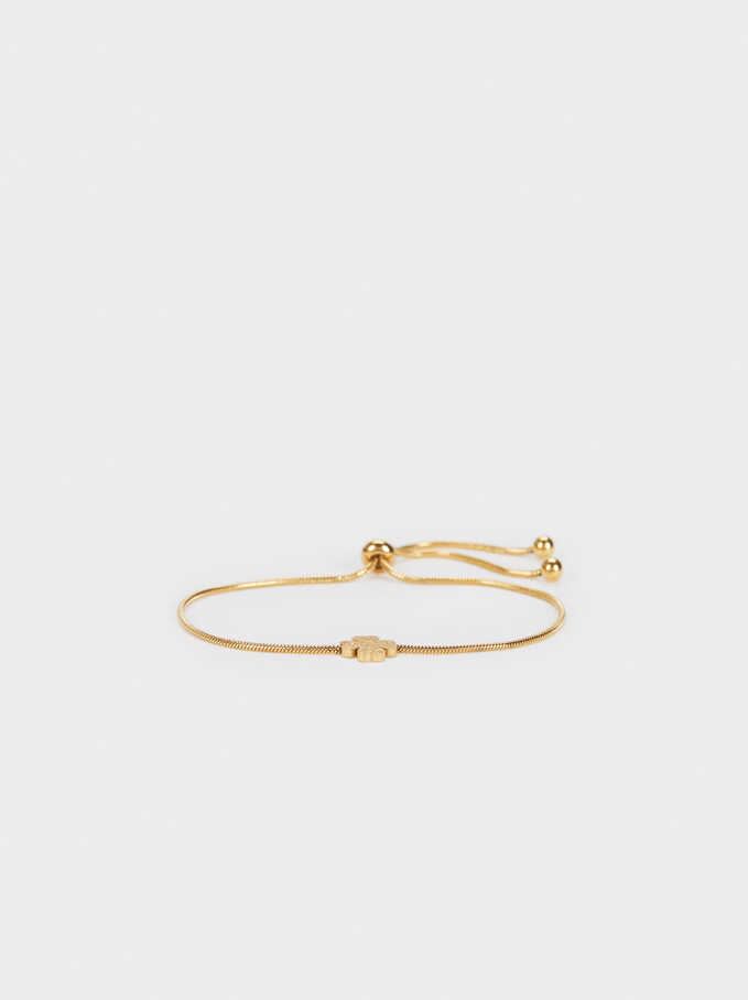 Stainless Steel Gold Adjustable Bracelet With Clover, Golden, hi-res