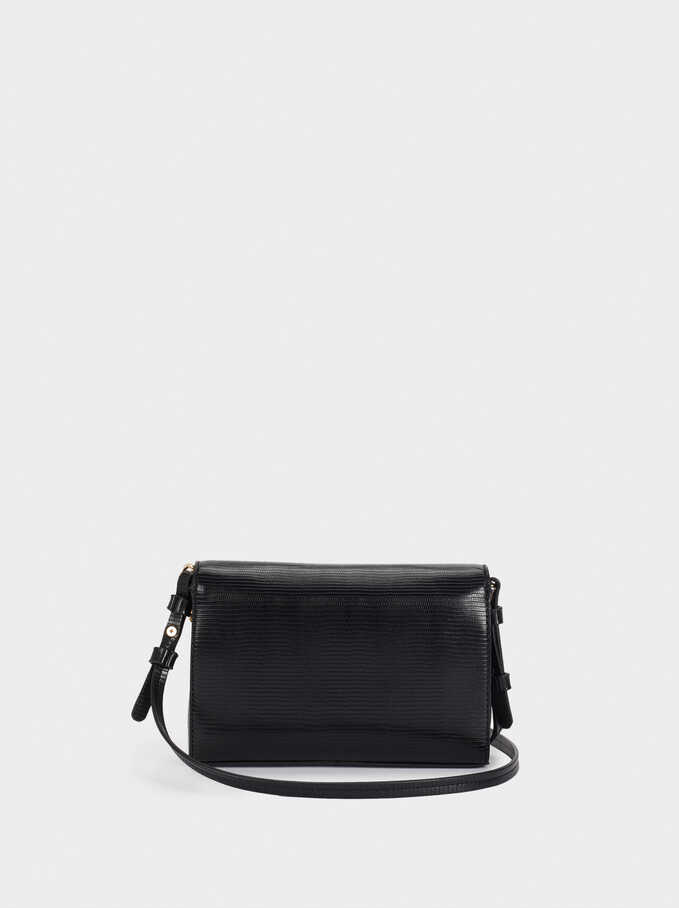 Clutch Bag With Flap Closure, Black, hi-res
