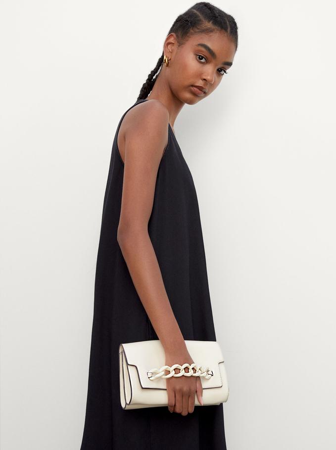 Handbag With Chain Detail, Ecru, hi-res