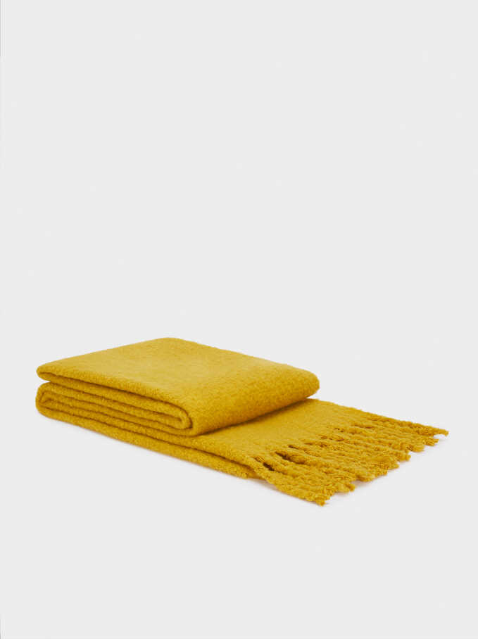 Plain Maxi Scarf, Yellow, hi-res