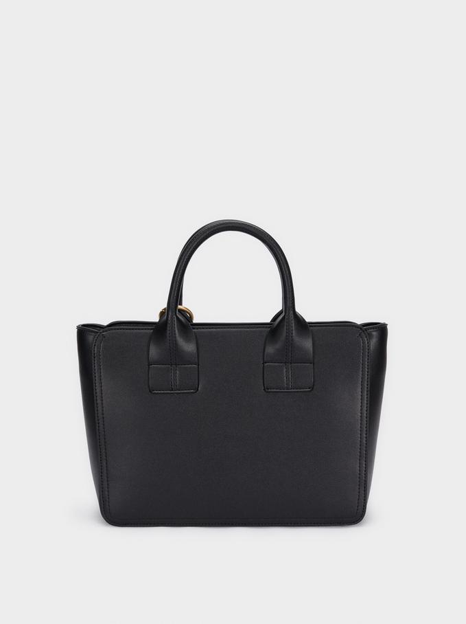 Sac Tote Bag Avec Bandoulière Et Pampilles, Noir, hi-res