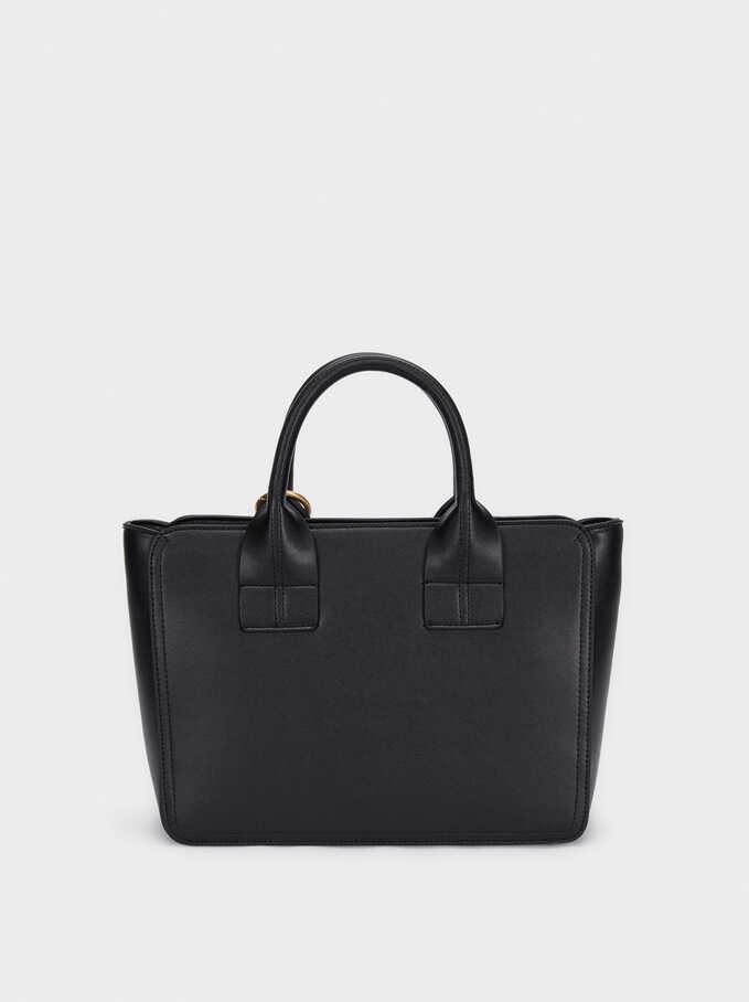 Crossbody Tote Bag With Tassel, Black, hi-res