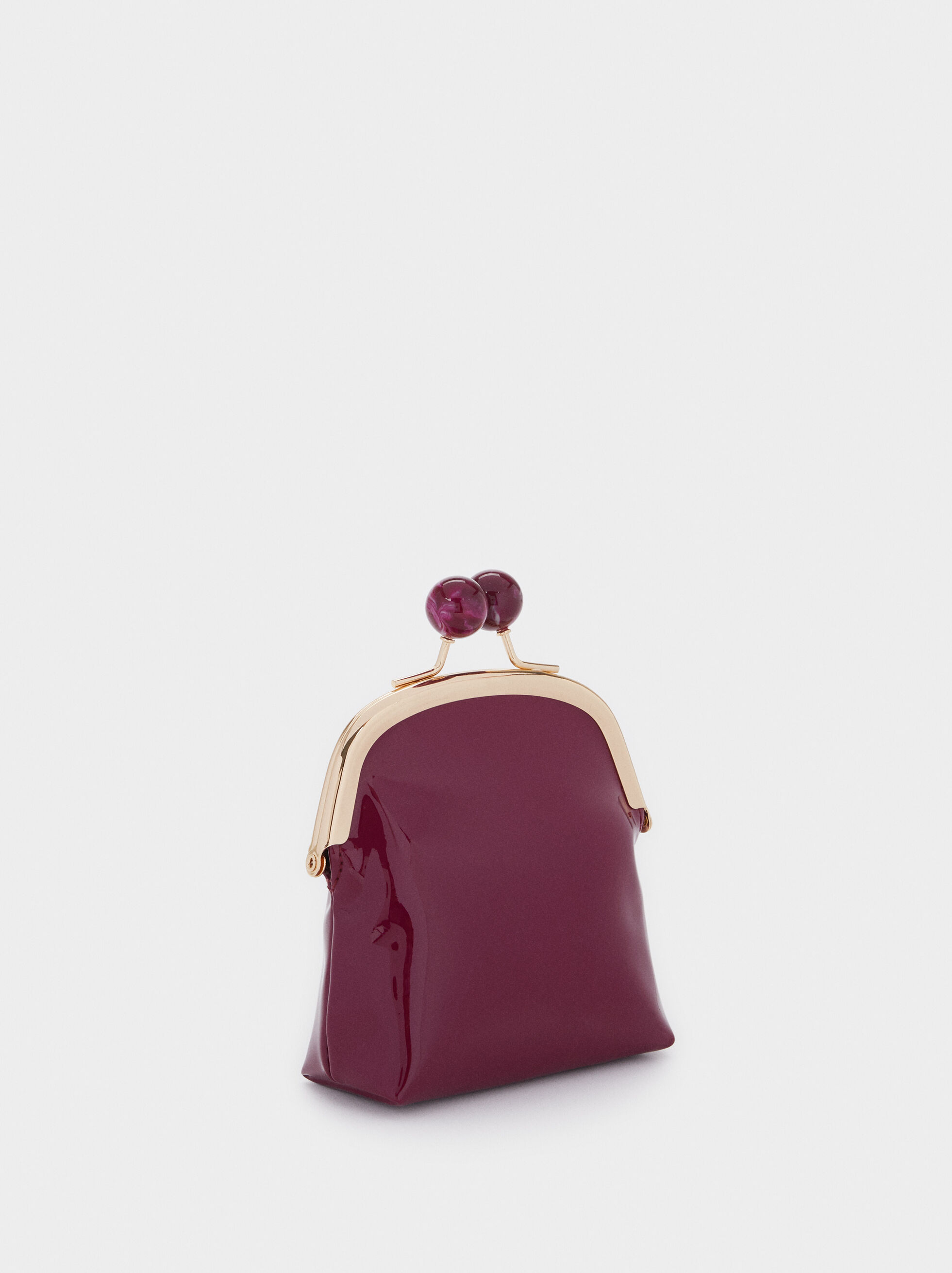 Vinyl Purse With Clasp Closure, Bordeaux, hi-res